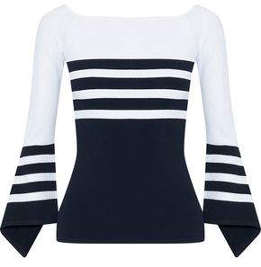 Autumn Cashmere Fluted Striped Knitted Sweater