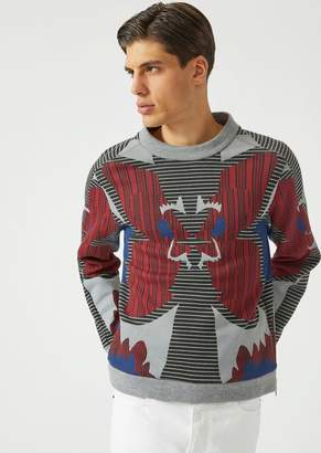 Emporio Armani Cotton Gauze Sweatshirt With All-Over Print