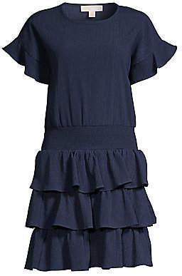 MICHAEL Michael Kors Women's Smocked Waist Ruffled Crinkle Dress