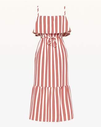 Juicy Couture Bold Stripe Ruffle Midi Dress