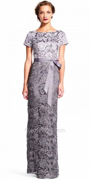 Adrianna PapellAdrianna Papell Short Sleeve Lace Column Evening Dress