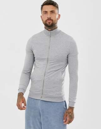Asos Design DESIGN jersey muscle track jacket in grey marl