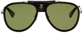 Gucci Black Web Block Aviator Sunglasses
