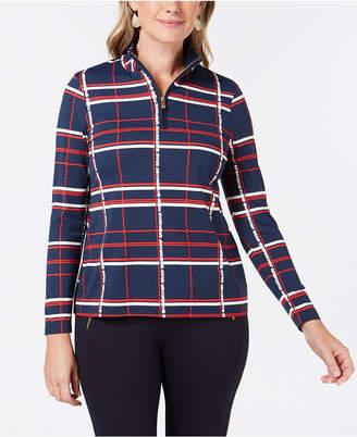 Charter Club Plaid Pullover-Zipper Top