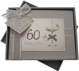 White Cotton Cards 60th Birthday Small Photo Album Coupe Glass