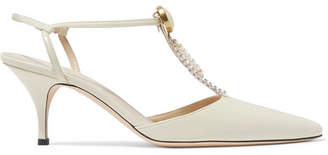 Magda Butrym Macedonia Embellished Leather Pumps - Ivory