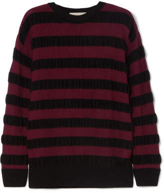 MICHAEL Michael Kors Striped Merino Wool-blend Sweater - Burgundy