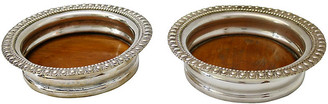 One Kings Lane Vintage English Silver-Plate Wine Coasters - Set of 2 - Rose Victoria
