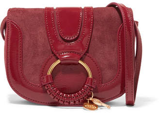 See by Chloe Hana Small Patent-leather And Suede Shoulder Bag - Claret