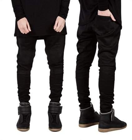 BackerJamison Trendy Designed Straight Pants Casual Men Jeans Slim Elastic Denim Trousers Black Size33