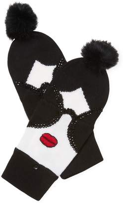 Alice + Olivia Women's Stace Face Fur Pom Convertible Mittens