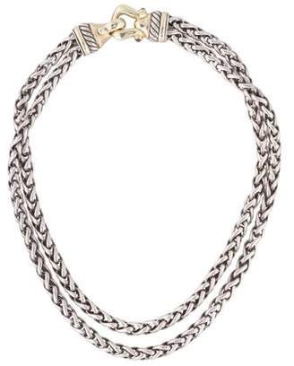 David Yurman Garnet Cable Buckle Wheat Chain Necklace