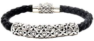 DEVATA Sterling Silver Bali Heritage Soka Flower Braided Leather Bracelet