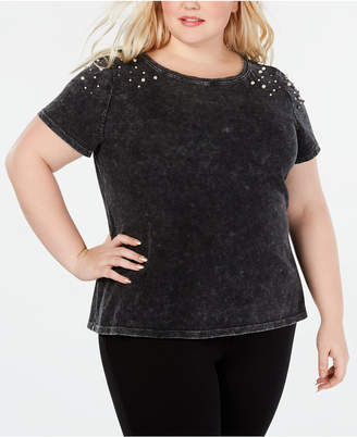 INC International Concepts I.n.c. Plus Size Imitation-Pearl Shoulder-Detail T-Shirt