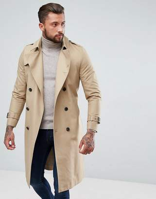 Asos Design DESIGN shower resistant longline trench coat with belt in stone