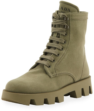 Prada Lug-Sole Canvas Combat Boots