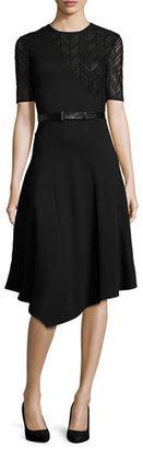 Jason Wu Short-Sleeve Drape-Front Dress, Black $1,495 thestylecure.com