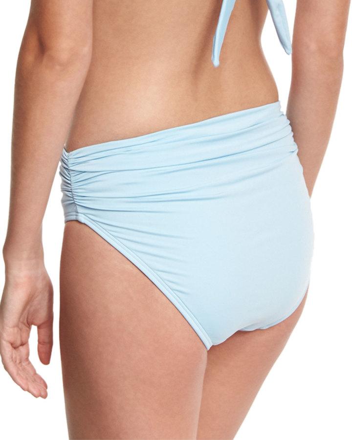 Carmen Marc Valvo Classic Shirred High-Rise Bikini Bottom, Powder Blue 2