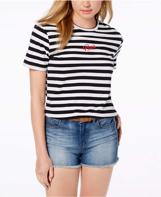 Rebellious One Juniors' Cotton Paris Striped T-Shirt