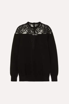Givenchy Lace-trimmed Knitted Sweater - Black