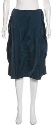 Max Mara Pleated Knee-Length Skirt Blue Pleated Knee-Length Skirt