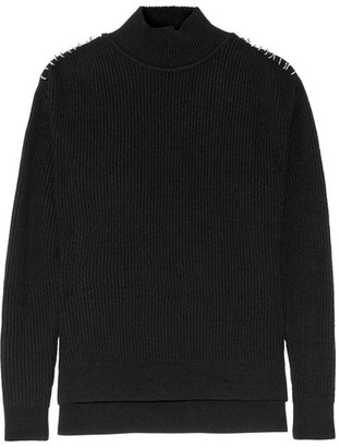 Mugler - Embellished Wool And Cashmere-blend Sweater - Black $550 thestylecure.com