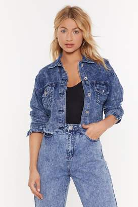 Nasty Gal Womens The Music Never Cropped Denim Jacket - Blue - L