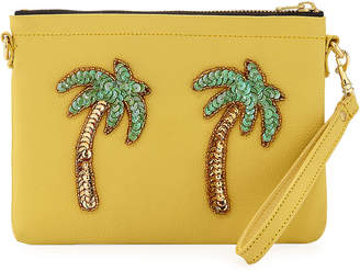 Tea & Tequila Palm Tree Chain Clutch Bag, Yellow