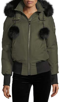 Moose Knuckles Debbie Long-Sleeve Zip-Front Bomber Jacket w/ Pompoms