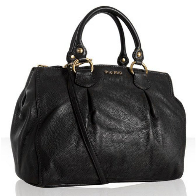 Miu Miu black pebble leather dual compartment large tote