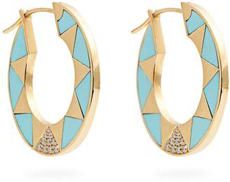 Marc Alary Diamond, turquoise & yellow-gold earrings
