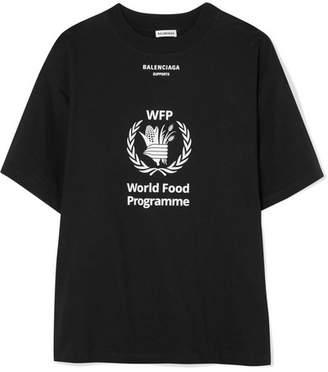 Balenciaga World Food Programme Printed Cotton-jersey T-shirt - Black
