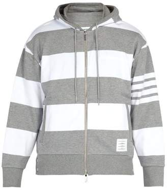 Thom Browne Striped Hooded Cotton Sweatshirt - Mens - Light Grey