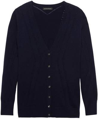 Banana Republic Feather Touch Pointelle Long Cardigan