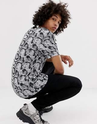 Asos DESIGN relaxed t-shirt in snakeskin print