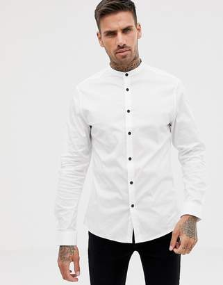 702aa489364 Asos Design DESIGN slim shirt in white with grandad collar and contrast  buttons