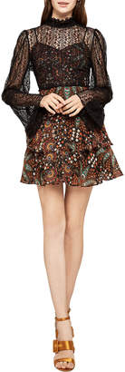 BCBGeneration Floral Print Tiered Fit-and-Flare Dress with Lace Overlay
