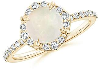 Angara.com October Birthstone - Claw-Set Vintage Diamond Halo Round Opal Ring in 14K Yellow Gold (7mm Opal)