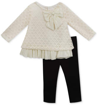 Rare Editions Baby Girls 2-Pc. Lace Top & Leggings Set