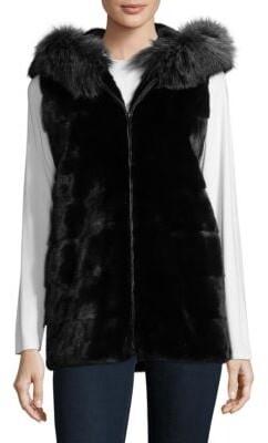 Dyed Mink Fur Hooded Vest