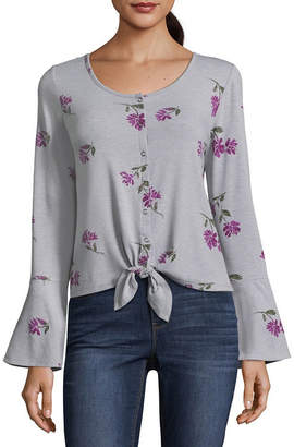 Arizona Long Sleeve Round Neck Knit Blouse-Juniors
