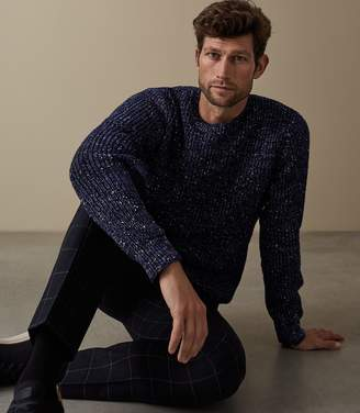 Reiss ORDER BY MIDNIGHT DEC 15TH FOR CHRISTMAS DELIVERY PIERRE FLECKED CREW NECK JUMPER Blue