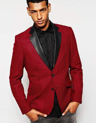 Antony Morato Houndstooth Blazer with Faux Leather Lapel in Slim Fit