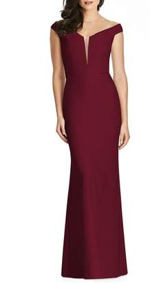 Dessy Collection Off the Shoulder Crepe Gown