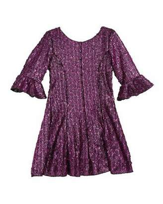 Zoe Viv Boucle Knit Fir-and-Flare Bell-Sleeve Dress, Size 4-6X
