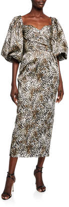 Rasario Leopard-Print Puff-Sleeve Dress