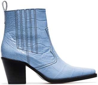 1d70e3b5ccbe Ganni blue Callie 70 crocodile-embossed leather ankle boots