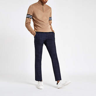 Mens Navy check skinny smart jogger trousers