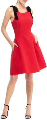 Gal Meets Glam Zara Fit & Flare Dress with Velvet Shoulder Ties