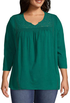 ST. JOHN'S BAY Smocked Lace Yoke Blouse - Plus
